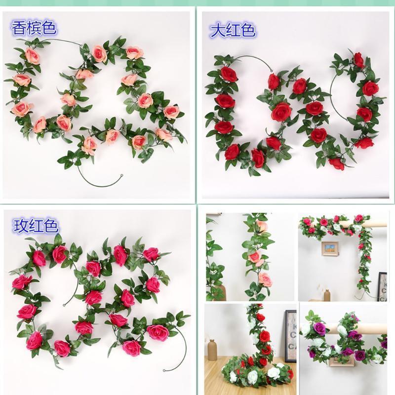 245 cm Rosas artificiales Flor String Home Garden Fiesta de cumpleaños Decoración DIY Boda Arcos Guirnalda Flores Flower Flowers1