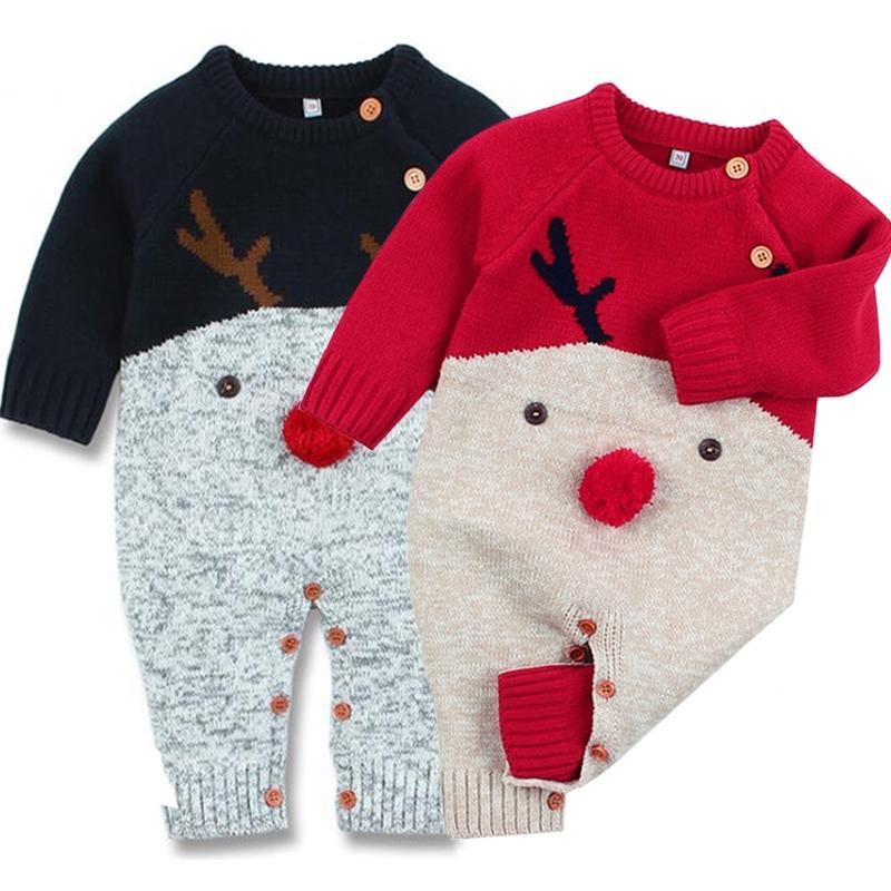 Рождественский ребенок вязаный ползунок осень зима рожденная детская одежда мультфильм рождественские олень детские ползунки мальчики девочек комбинезон комбинезон 201127