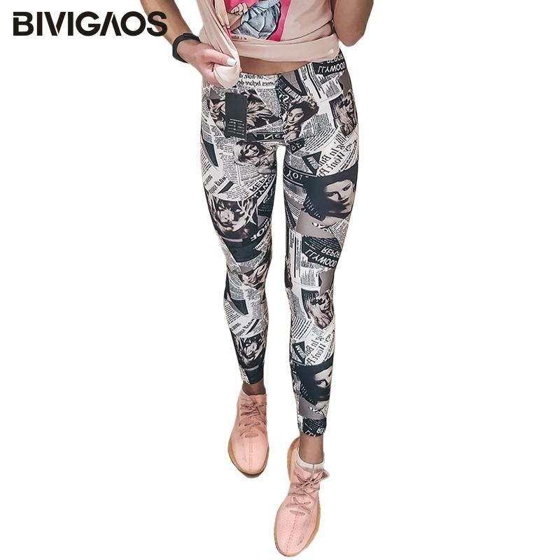 Bivigaos Moda Giornale Belle Black Bianco Digital Stampato GRAFFITI GRAFFITI Fiori leggings Pantaloni Leggings Elastico Pantaloni Donne 201203