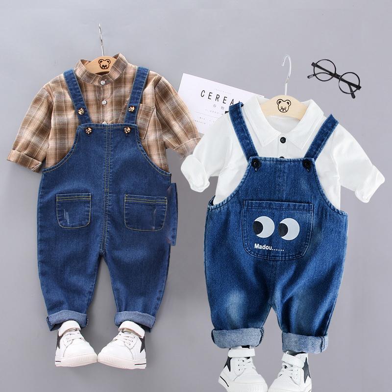 Conjuntos de ropa para bebés Niños 1 2 3 4 años Traje de cumpleaños Boys Tritsuits Kids Fashion Sport Trajes de moda Camiseta Overoles 2pcs Set 201126