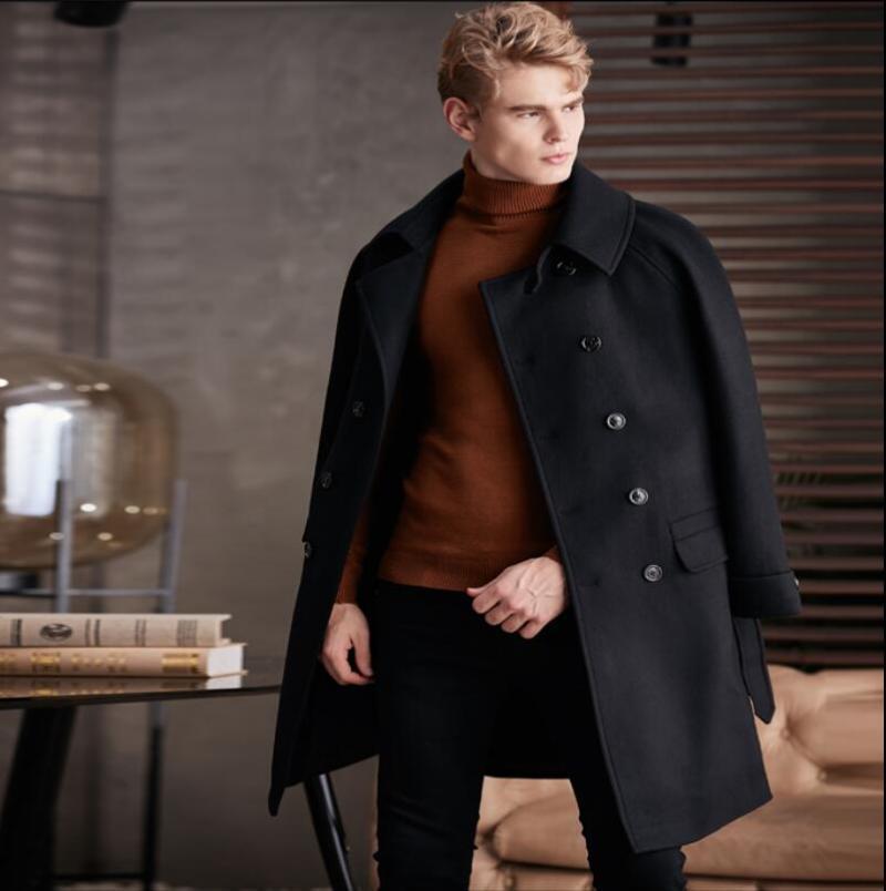 S-6XL 2020 Nouveaux vêtements hommes conception long manteau trench laine vêtements taille plus mince automne hiver manteau de laine de loisirs d'affaires