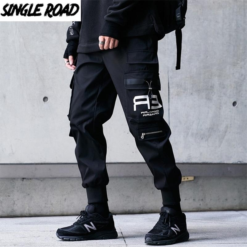 Pantaloni cargo da uomo SingLeroad Men Modo Tasche Laterali Joggers Hip Hop Harajuku Giapponese Streetwear Pantaloni Black Pants Black Pants Men 201113