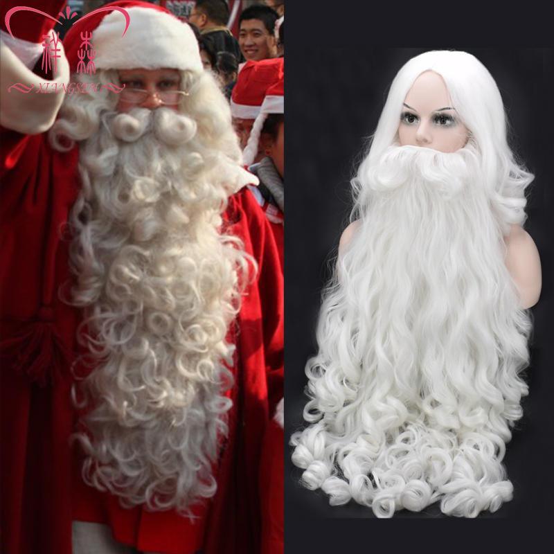 Weihnachten Cosplay Perücke Bart Santa Claus Weiß Gelocktes langes synthetisches Haar Erwachsener