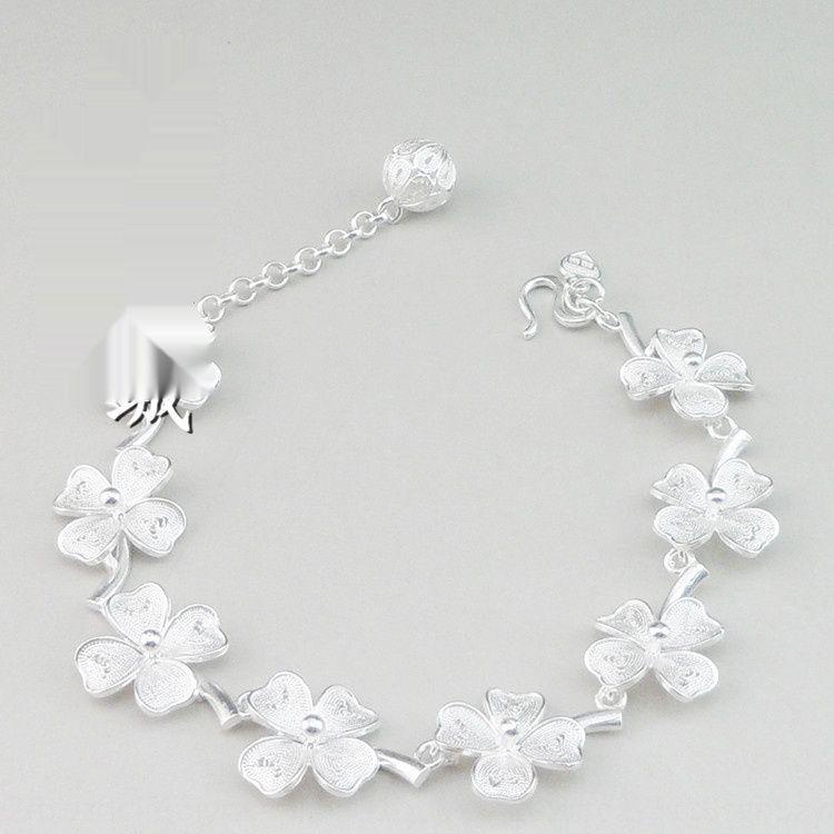 mostrare Qiancheng gioielli fatti a mano 999 fiocco di neve fortunati erba spettacolo Qiancheng braccialetto fatti a mano gioielli in argento 999 fiocco di neve braccialetto in argento luc