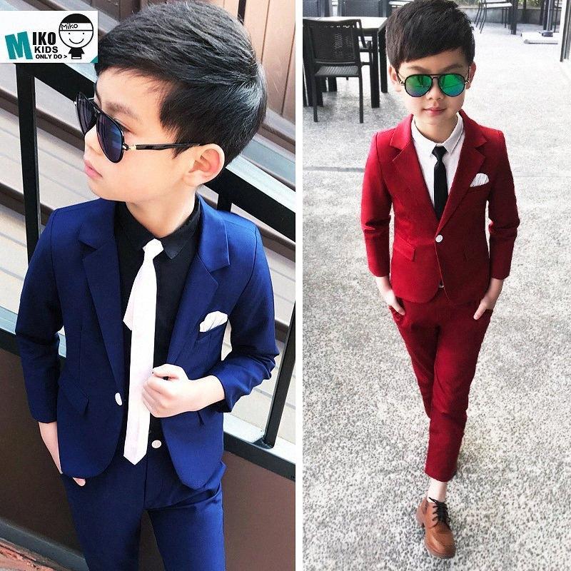 New Arrival 2019 Spring Wedding Suit for Boys Blazers Pants 2Pcs Formal Blazer Suit Children RED/BLUE Clothing Set 2-10Y Costume 1PdJ#
