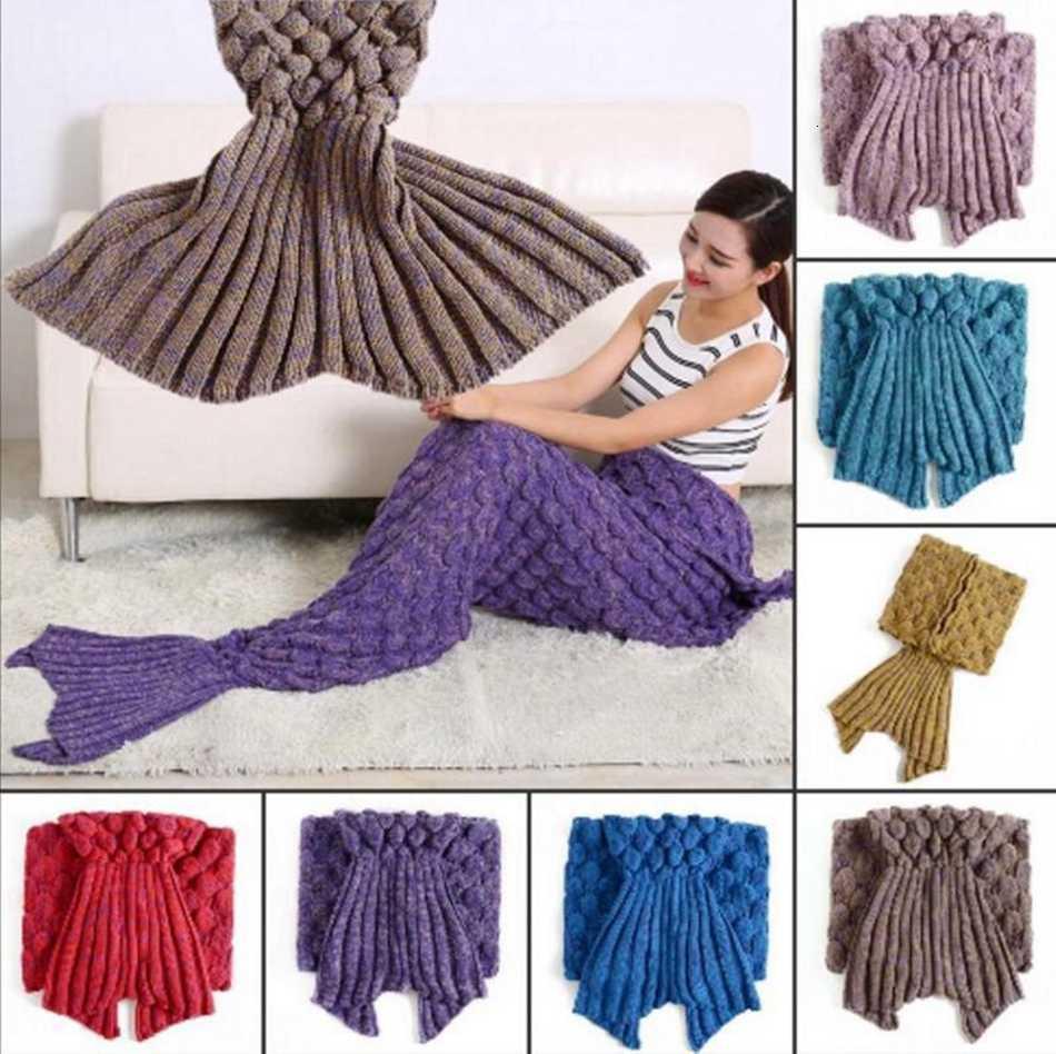El Tığ işi Mermaid 195 * 90 cm Yetişkinler Yumuşak Klima Battaniye Kanepe Balık Kuyruk Battaniye OOA2888