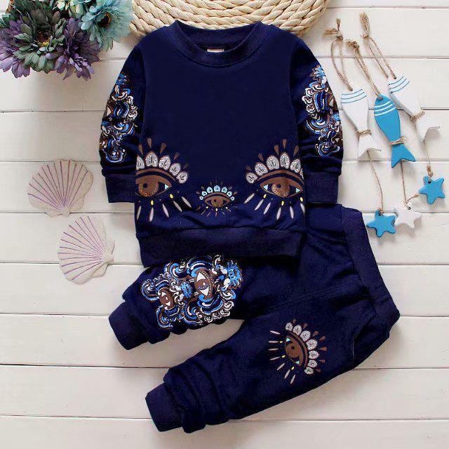 새로운 고전적인 고급 디자이너 아기가 T 셔츠 자켓 바지 2-piec 1-4 세 oled 슈트 키즈 패션 어린이 2pcs면 의류
