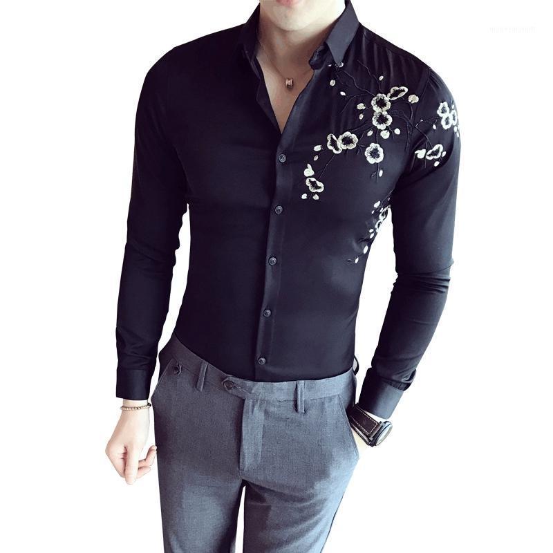 Мужские платья футболки 2021 весенняя мода старинные вышивки мужские с длинным рукавом Slim повседневная социальная камизация Masculina человек одежда1