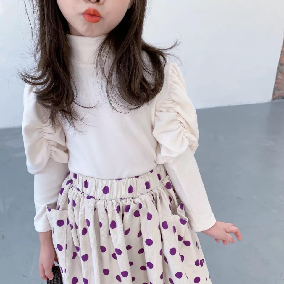 Корейский INS Новый стиль девушки T-Shirt Длинные рукава Puff Winter Plain Blank чистого хлопка высокого шеи воротник моды девочек Top тройники