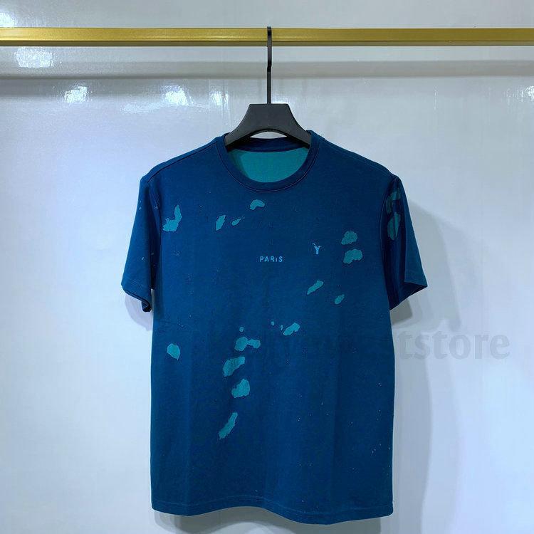 слой ткани New Luxury Europe Paris Сломанные Дыры тенниска Два Tshirt Мужчины Женщины строчная печати тенниска Дизайнер Tshirts Хлопок Tee