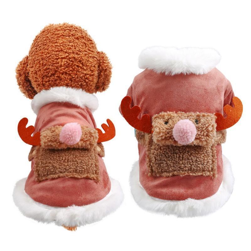 Одежда для собак Рождественская лось костюма домашних животных зимнее пальто теплые плюшевые утолщенные хлопчатобумажные куртки щенок наряд для маленьких собак