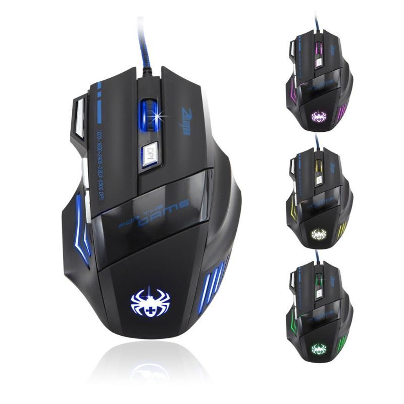 ZELOTES T-80 Wired Gaming Mouse New Version 5500 DPI 7Buttons USB LED OptIcal Professional Gamer Mouse for PC Laptop Games 20J16