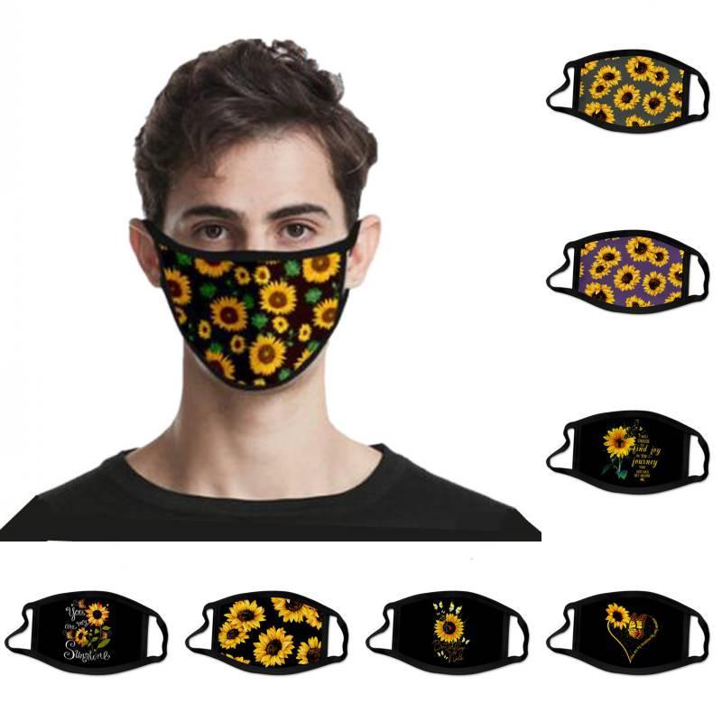 DHL de envío reutilizable impresión del girasol Máscara de moda a prueba de viento de la máscara protectora de la cara cubierta lavable y transpirable de algodón para unisex Kimter-L830FA