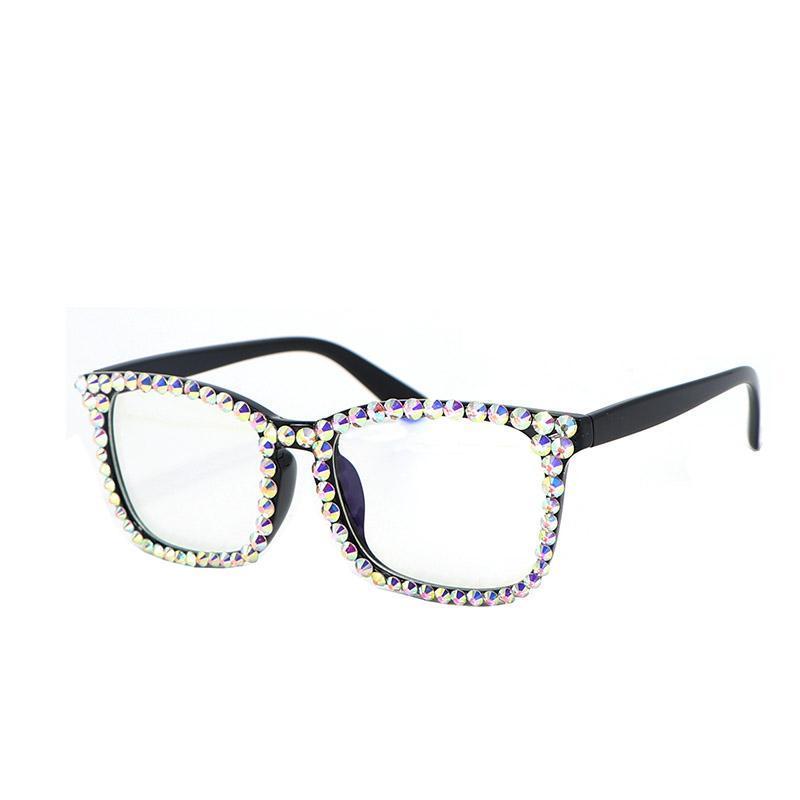 Blue Blue Light Computer Glasses per Anti Eye Eye Strain Clear Lens Donne Rhinestone Crystal Bling Eyeglasses