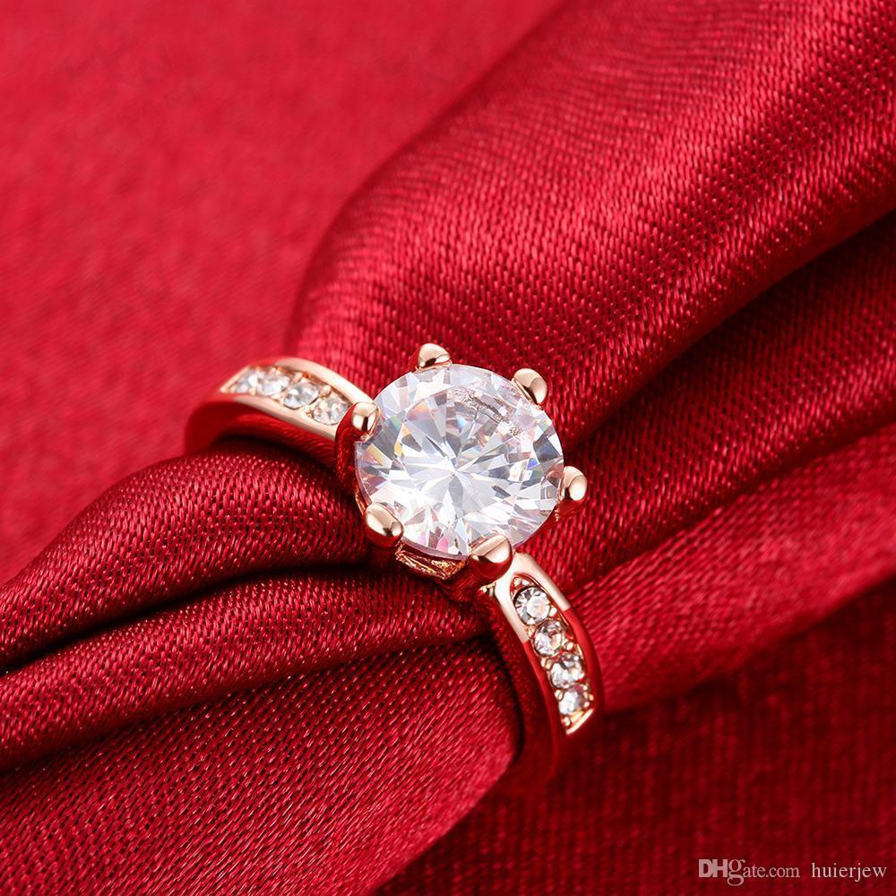 여성 남성 링 패션 보석 반지 다이아몬드처럼 크리스탈 18k 골드 웨딩 다이아몬드 반지 도금