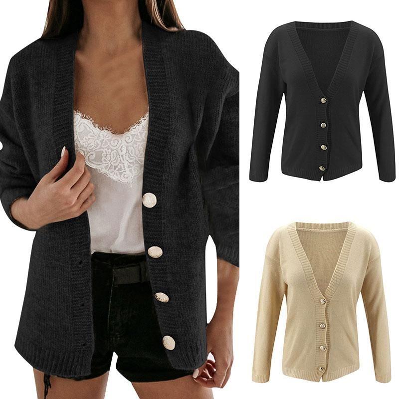 New Herbst Strickcardigans Female Solid Color Strick mit V-Ausschnitt lose Pullover Frauen Einreiher-Jacken-Mantel Oberseitenoberbekleidungt
