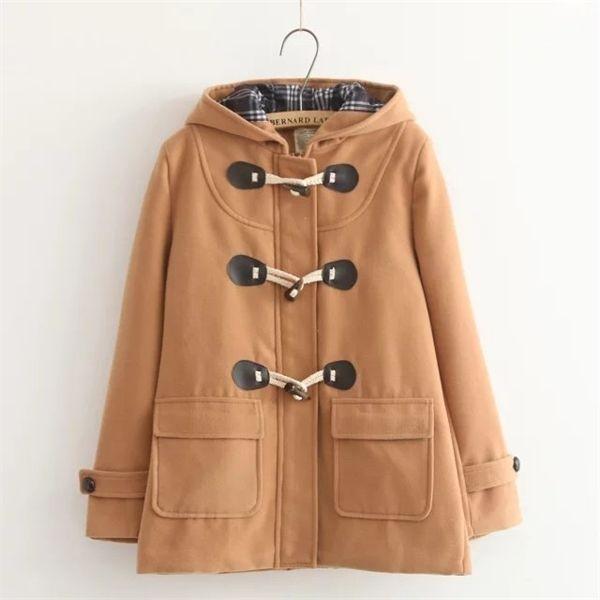 Inverno nuovo Accademico incappucciato di stile a maniche lunghe Horn Buckle allentato Joker lana panno di lana del cappotto C1111