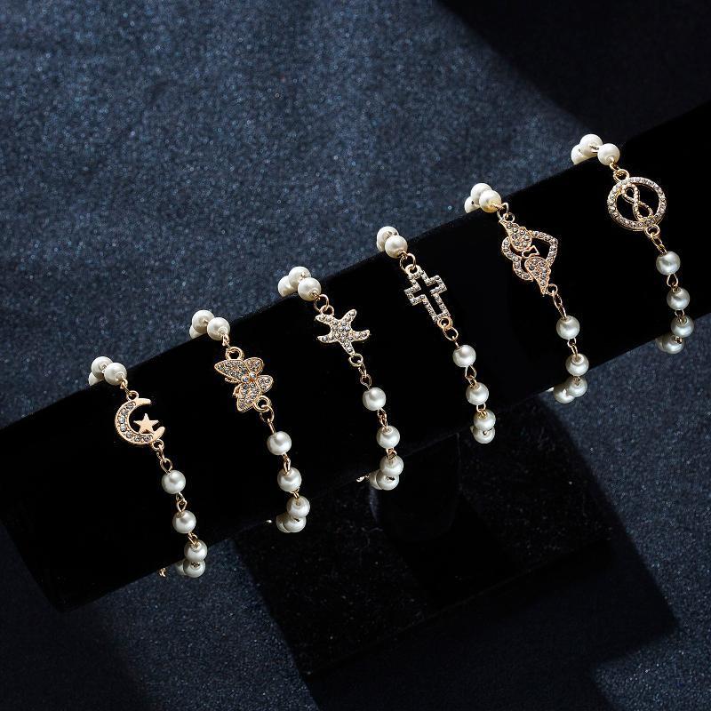 Ссылка, цепь Женщин Золотые Жемчужные Браслеты Love Cross Moon Star Starfish Butterfly Butterfly Handant Chinestone Бусины Браслет Ювелирные Изделия