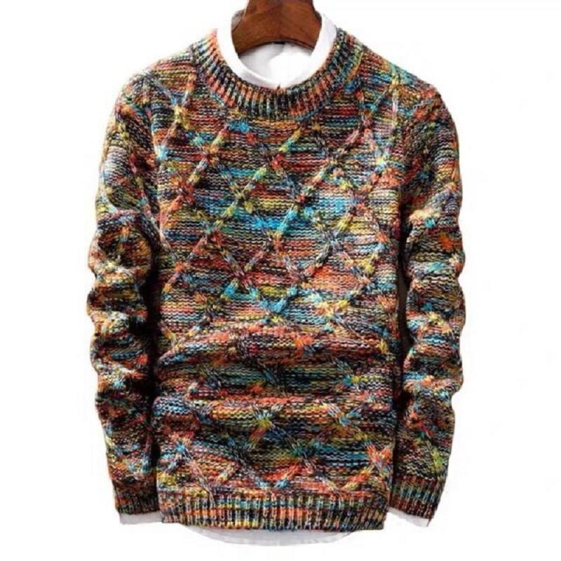 Перевозка груза падения Марки свитер MenBrand мода пуловер Мужской O-образный вырез полоса Slim Fit Вязание моды Свитер Человек пуловер