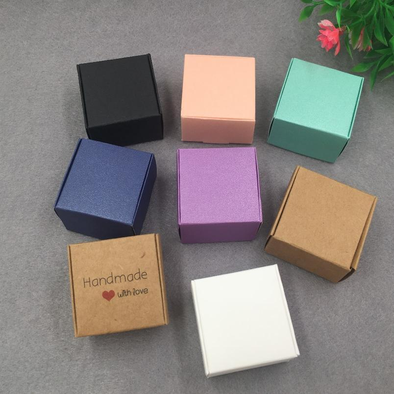 30pcs/lot 4x4x2.5cm Colourful Kraft Paper Jewelry Packing Small Gift Box For Handmade Soap Wedding Candy jllfJW