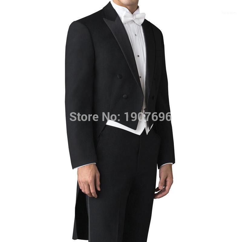 Индивидуальный свадьба свадебный мужской хвостовой халат для костюмов Gooom двубортный 3-х частей набор черной куртки брюки белый жилет для выпускного вечера PREST1
