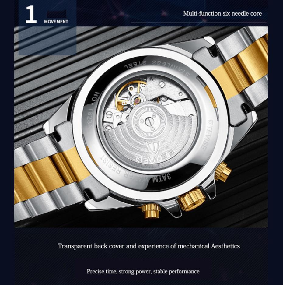 TEVISE Мужчины Stailness сталь Группа автоматические механические часы Мода Календарь Показать Бизнес Мужские часы