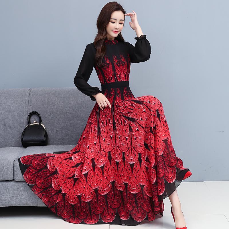 Przypadkowe sukienki Temperament dla kobiet 2021 Jesień Szyfonowa Wysoka Talia Długie Rękawy Koreański Dress Drukowanie Czerwone Niebieskie Odzież