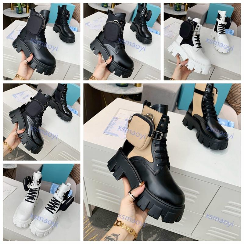 النساء Luxe مصممون Rois Boots monolith Prada shoes أحذية الكاحل مارتن الأحذية والنايلون التمهيد العسكرية مستوحاة من القتالية التمهيد القابلة للإزالة لا مربع