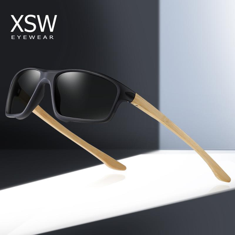 GM Спорт Деревянные поляризованные очки Мужская площади Смола Солнцезащитные очки Аксессуары антибликовое UV400 очки 6001