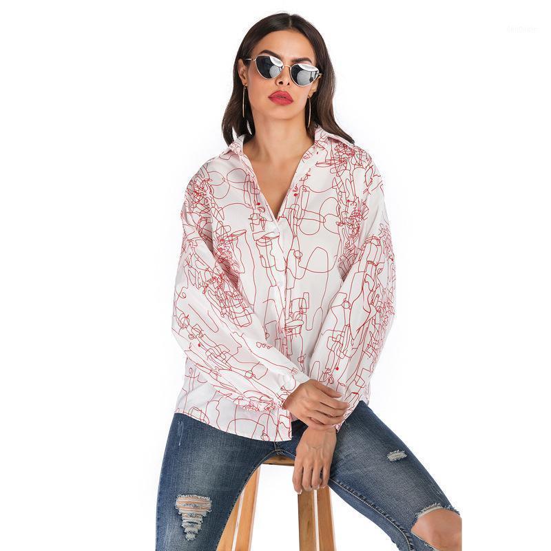 Женские блузки Рубашки 2021 Весна Повседневная Геометрическая Печата с длинным рукавом Рубашка Дамы Разворотные Воротник Свободная однобортная Кнопка Топы FEMA