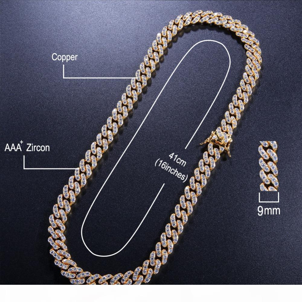 UWin 9мм Micro Pave CZ Iced кубинский Link ожерелья Цепи цвета золота Bling Bling ювелирных изделий Hiphop для мужчин