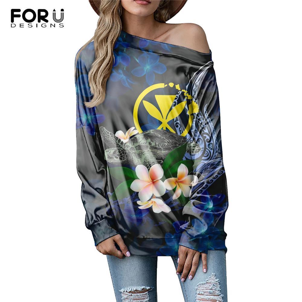 Fourdeigns Nouvelle Arrivée Femmes Off Epaule Top Polynésienne Tortue hawaïenne Plumeria Design Dames Mesure à manches longues T-shirts T-shirts Tees X1217