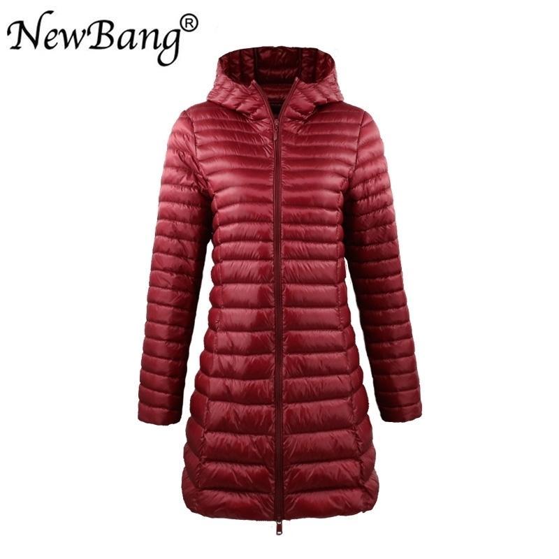 Newbang Marke Womens Daunenjacken Weibliche lange Winter Warme Mantel Frauen Ultra Light Down Jacke mit Tragetasche Damenübergüsse 201103
