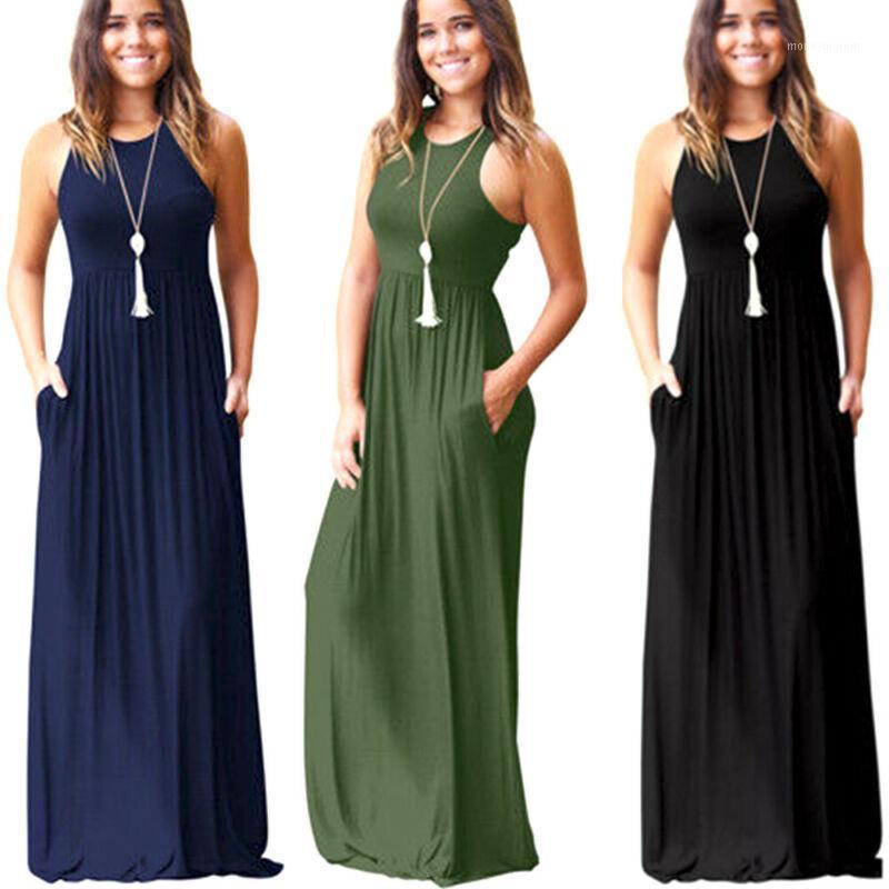 Donne abiti estivi senza maniche girocollo solido boho casual lungo maxi partito cocktail beach dress sundress1