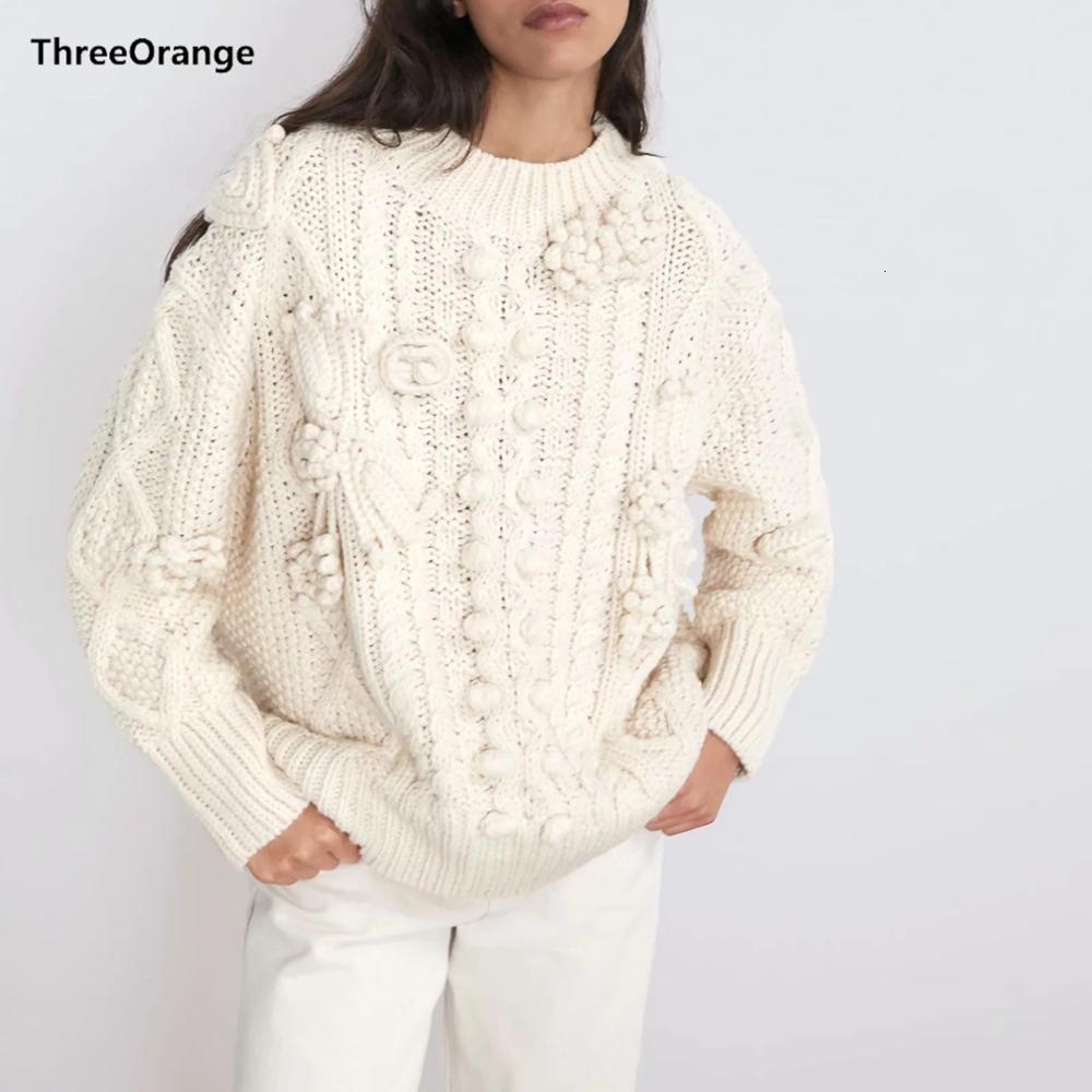 Za 2019 новая зимняя осень белый вязаный пуловер повседневный свободный свитер женский джемпер одежды женские джерси