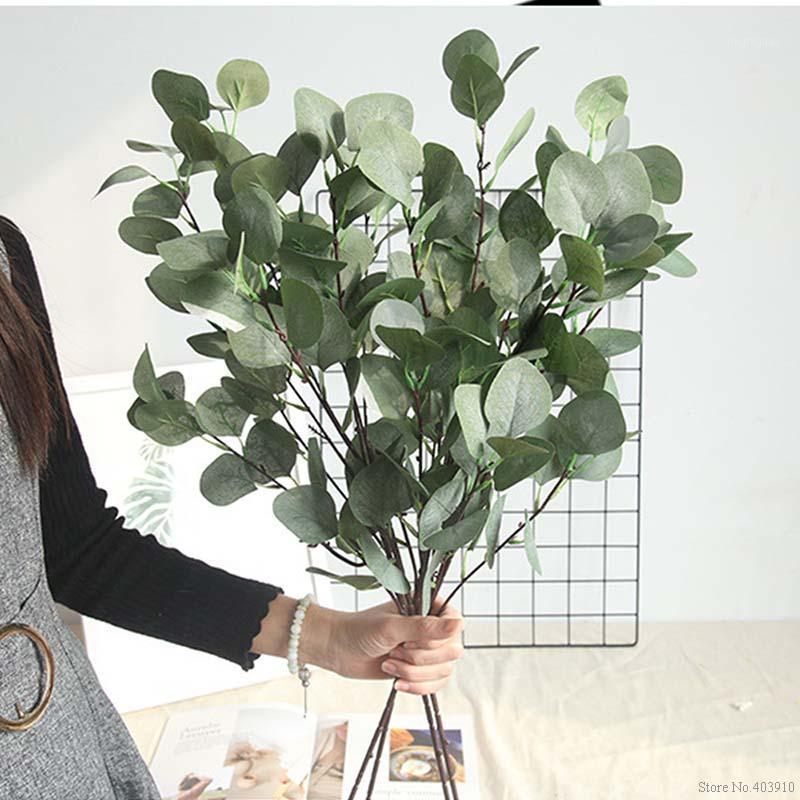Искусственная зеленая трава растение пластиковые поддельные цветы моделирования эвкалипта листья букет дома садовый магазин таблицы декор денег трава1