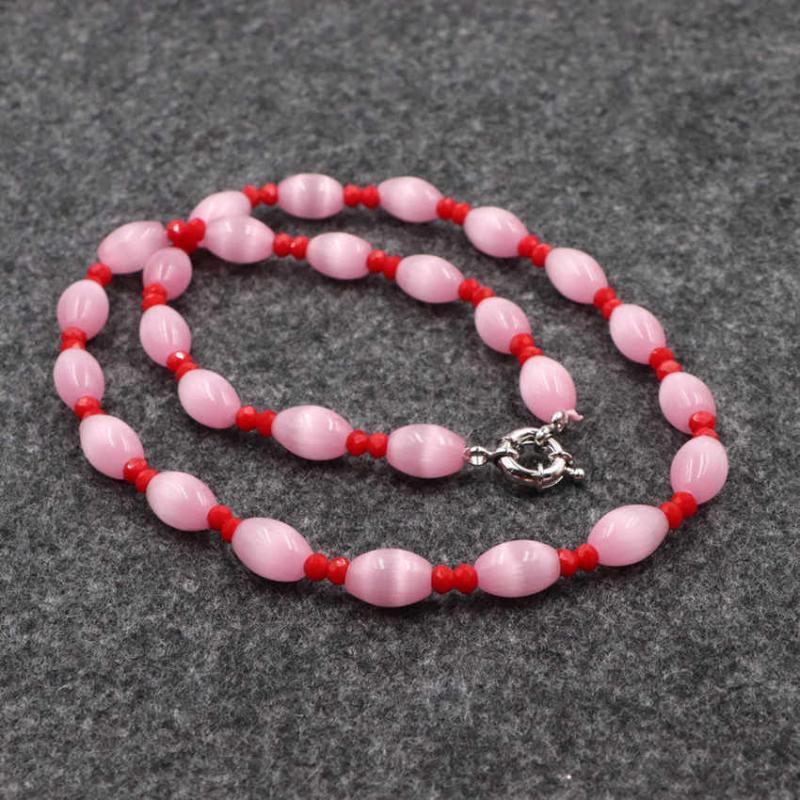 """Main Strand Collier ras du cou en cristal rose Boho Cat Eye Stone Perles Colliers pour femmes Mode collier de bijoux de la chaîne 18"""" de B177"""