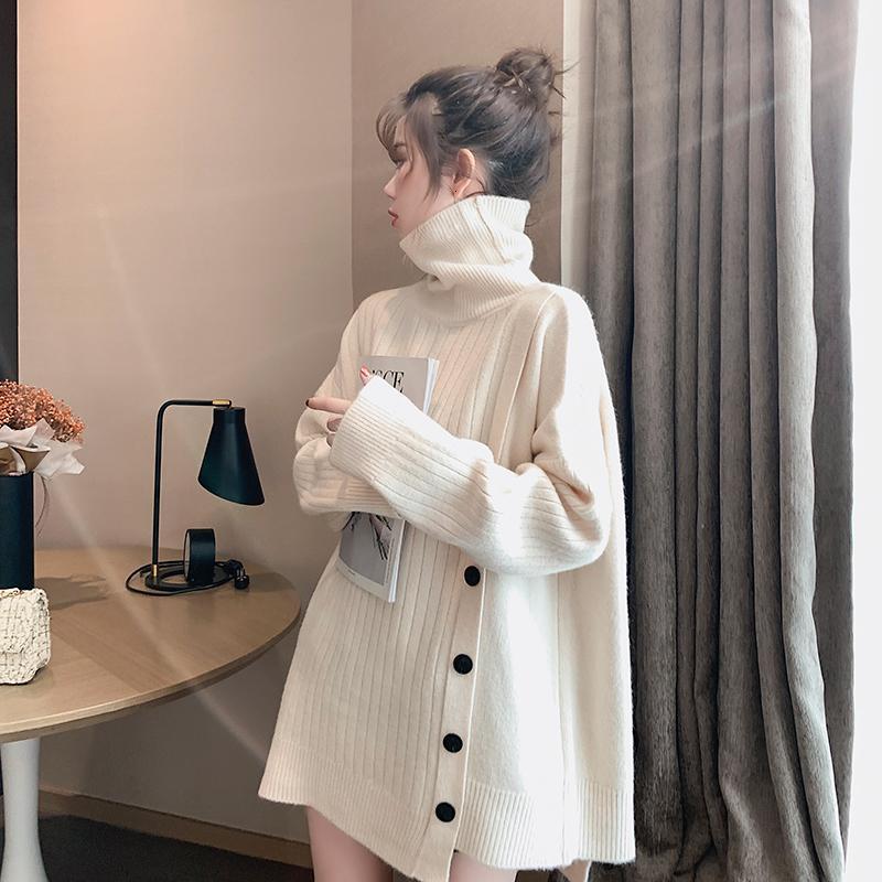[EWQ] 2020 Kış Yeni Tatlı Komple Mouw Tek Göğüslü Trui Jas Kore Losse Artı Boyutu Truien Kullanılan 6 Renk QZ121 Tops