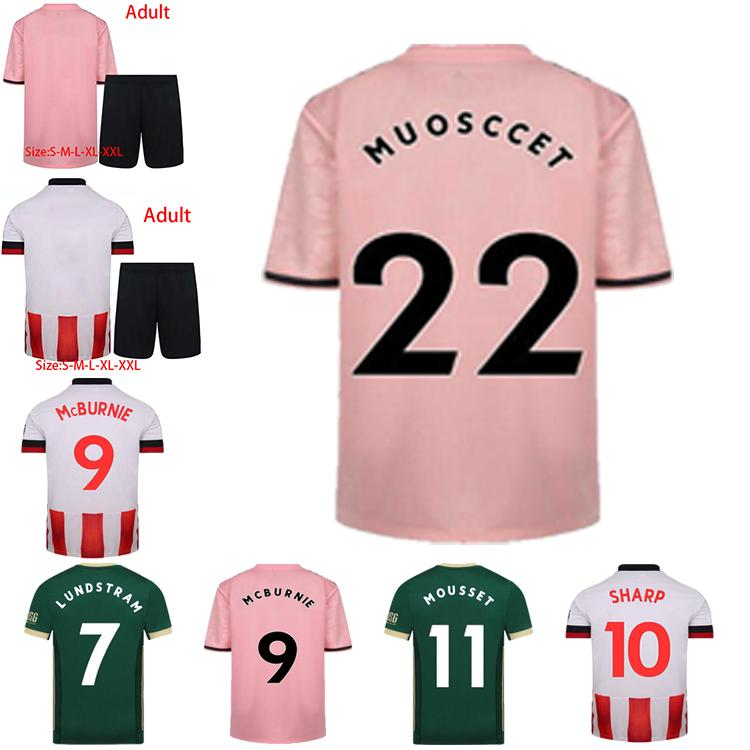 20 21 Top Quality Home Away Jersey Baldock Fleck Lundstram McBurnie Sharp Norwood Man + Kids Manga Curta Esportes Camisa