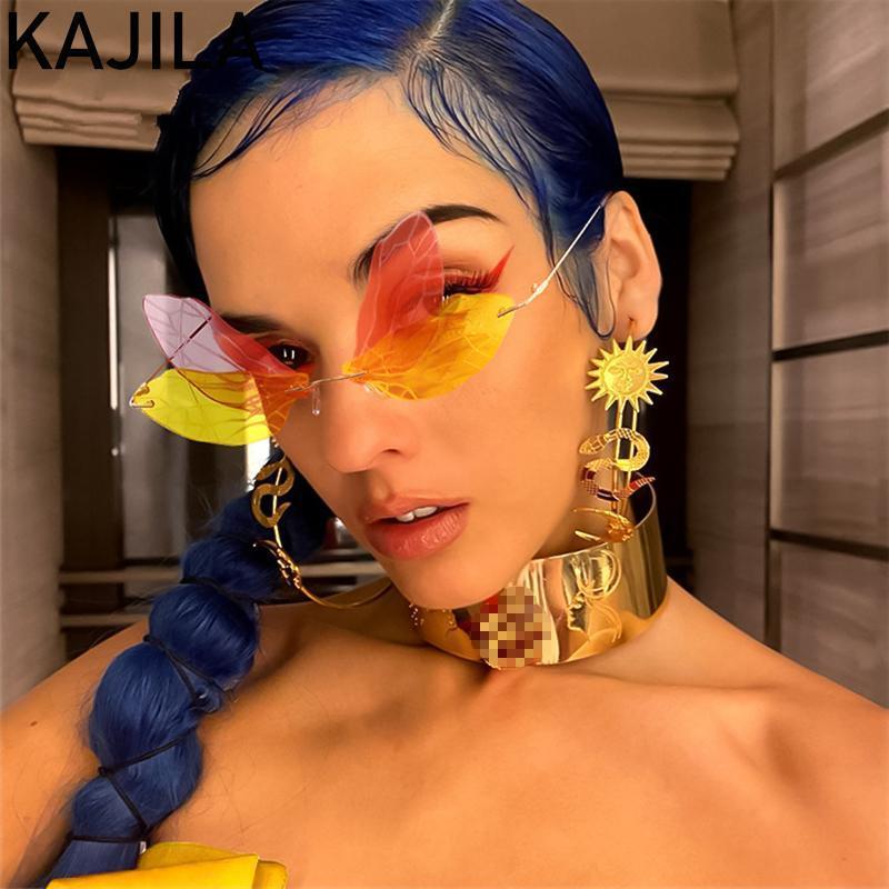 Солнцезащитные очки Винтаж Бабочка RIMLENT Женщины 2021 Мода Бренд Стимпанк Безрамные Стрекозы Солнцезащитные Очки Для Женщины Оттенки Окуло