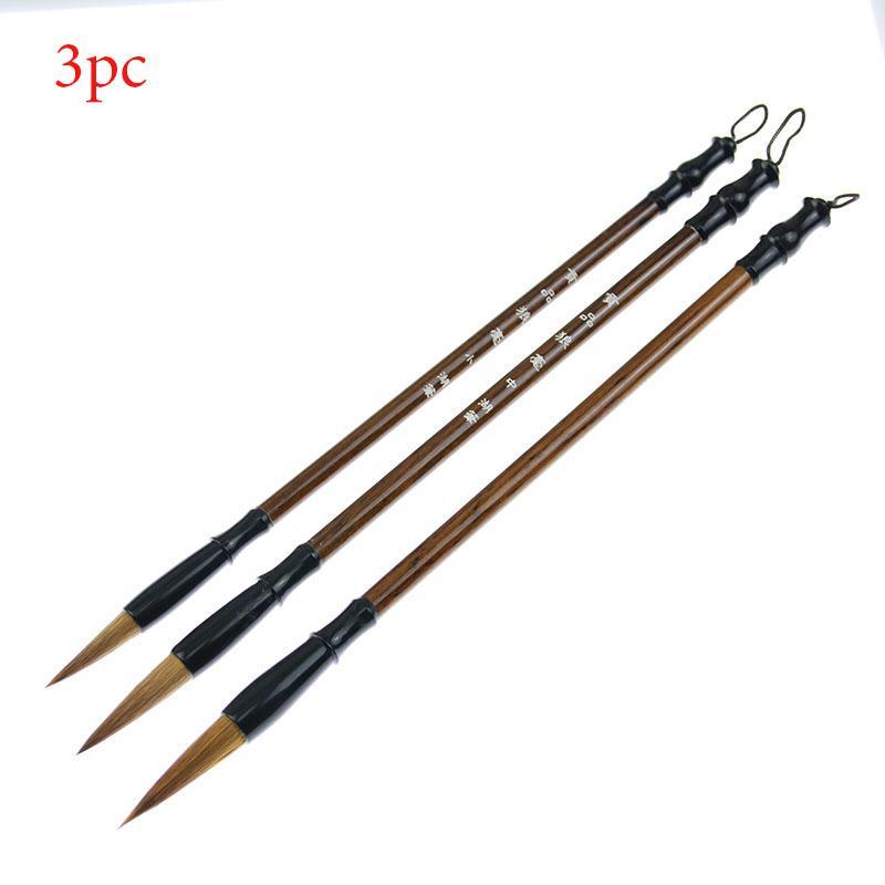 (3 قطع = مقاسات مختلفة) مجموعة من جودة عالية فرشاة الخط الصيني للالصوف والشعر الكتابة للمدرسة الماكرة طالب $ 12 ر الفقراء