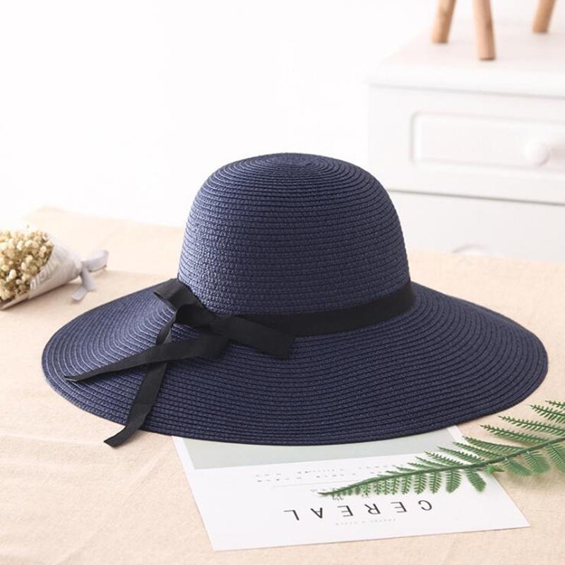 mulheres palha verão grande ampla proteção brim praia sol dobrável bloco UV panamá chapeu chapéu do osso feminino 201015