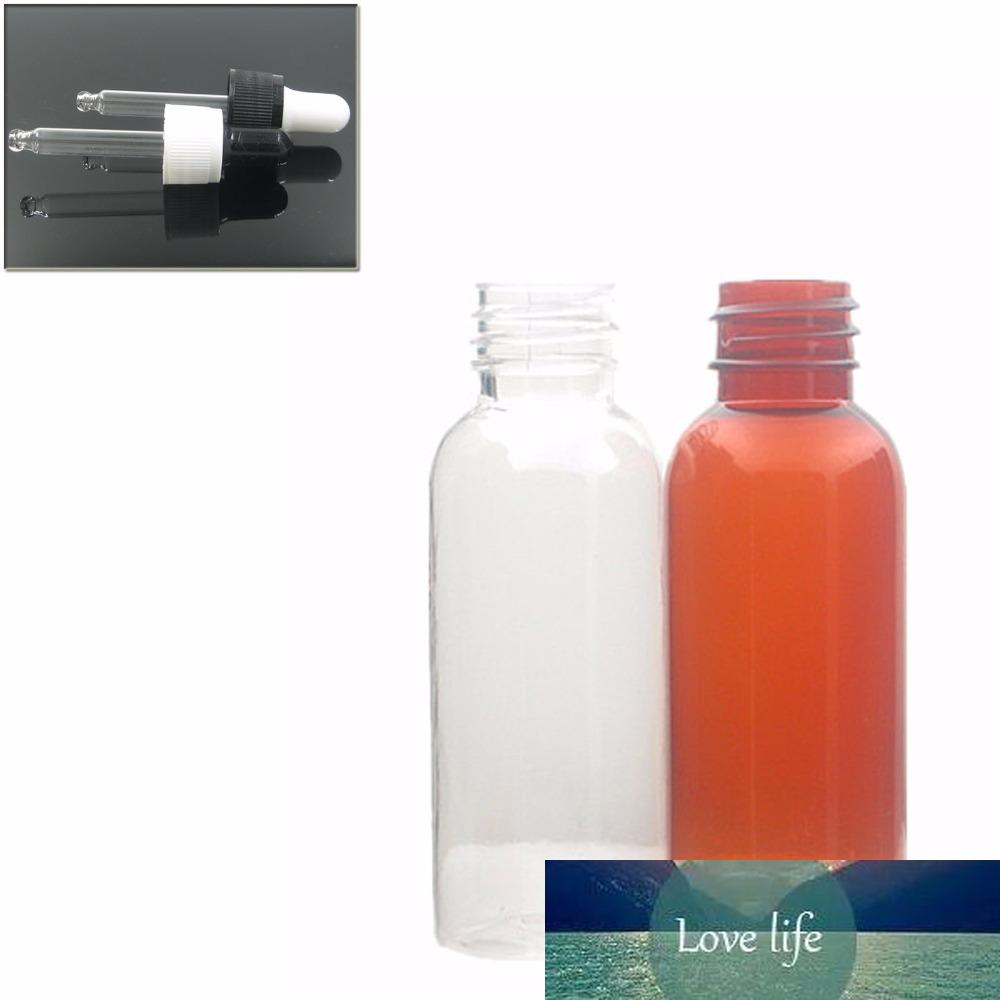 30ml empty amber/transparent pet bottle with black/white dropper cap, dropper bottle