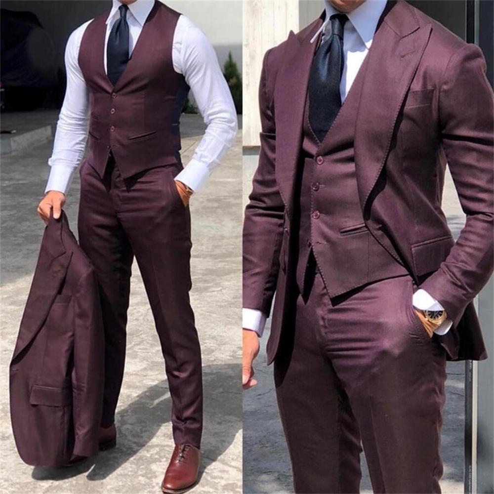 Şık Düğün Smokin Muits Slim Fit Damat Erkekler Için 3 Parça Groomsmen Suit Resmi İş Kıyafetleri Parti (Ceket + Yelek + Pantolon LJ200907