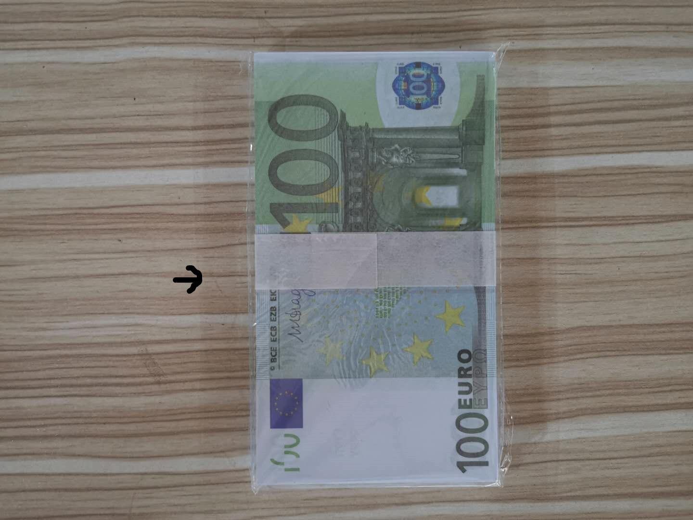 ventas directas de la fábrica de productos populares de simulación creativa juguetes 100 monedas euro billetes de banco de los niños que aprenden los apoyos de monedas