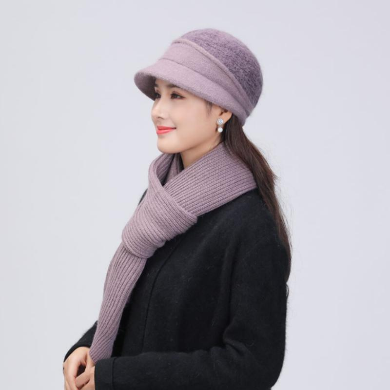 2020 New Fur Skullies Beanies Women Winter Hat And Scarf Set Warm Knitted Cotton Beanies For Ladies Mother Beanie Cap