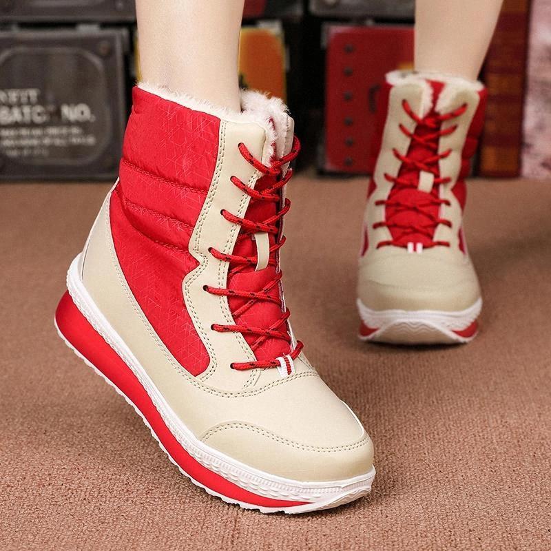 Winterstiefel Frauen Winter Weibliche Schuhe Mid-Calf Boots Frauen Warme Damen Schnee Bootie Wasserdichte Plüsch Botas Mujer # 2k7z