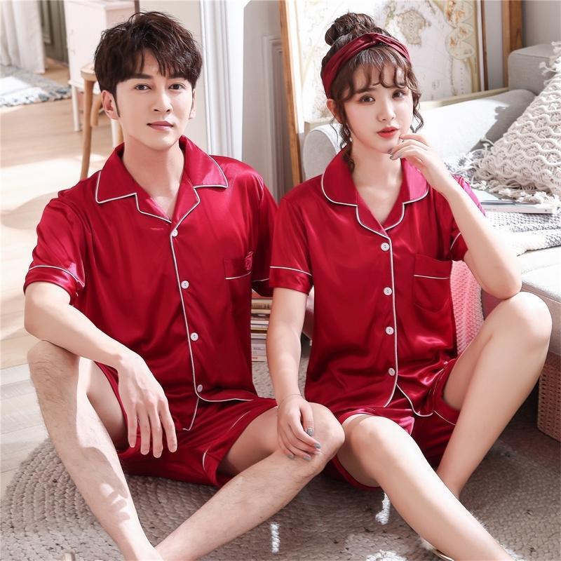 Casais amantes pijamas conjuntos mulheres de manga curta verão pijama homens soltos estilo de seda casal casal pijama setlewear top + calças y200425
