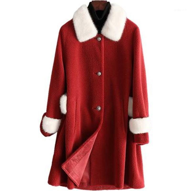 Mujeres Real Piel Abrigo de piel de oveja Chaqueta 2019 Invierno Femenino Natural Cordero Piel de lana Espesar Cálido Slim Long abrigo Invierno M871