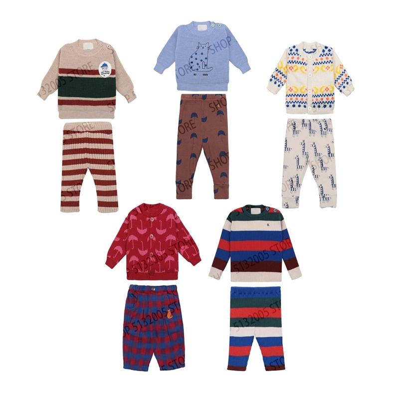 Pré-venda outono e inverno novo bebê crianças de malha camisola calça terno roupa bebê criança menina inverno roupas y200803
